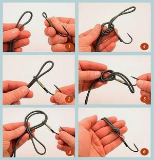 Привязывание крючкана леску