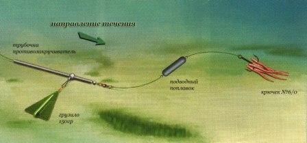Вариант оснастки донной снасти при ловле на течении